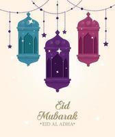 Celebração eid al adha mubarak com lanternas penduradas vetor
