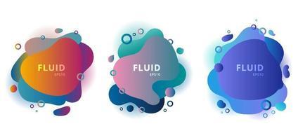 conjunto de elementos gráficos de emblemas de cores de formas fluidas modernas abstratas em fundo branco. vetor