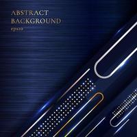 Abstrato elegante metálico geométrico dourado diagonal linha arredondada em fundo de metal azul vetor