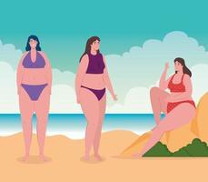 mulher fofa em maiôs na praia, temporada de férias de verão vetor
