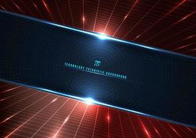 tecnologia abstrata futurista conceito digital perspectiva grade vermelha e efeito de iluminação partículas brilhantes círculo de elementos de pontos em fundo azul escuro vetor
