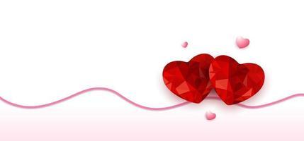 feliz dia dos namorados origami coração vermelho projeto polígono baixo com sombra e linha ondulada no fundo branco