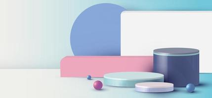 Renderização 3D com cilindro de pódio, esfera, retângulo, cena mínima abstrata com plataforma geométrica em fundo azul