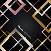 Padrão geométrico abstrato de borda quadrada dourada, prata, ouro rosa metálico sobreposto em fundo preto vetor