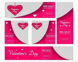 conjunto de postagens de mídia social do dia dos namorados vetor