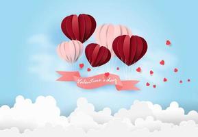 cartão de feliz dia dos namorados com balões flutuando no céu azul. vetor