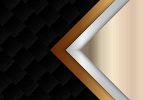 modelo abstrato geométrico ouro, estilo luxuoso brilhante metálico prata em fundo preto padrão de meio-tom e textura. vetor