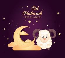 Celebração de eid al adha mubarak com lua e ovelhas vetor