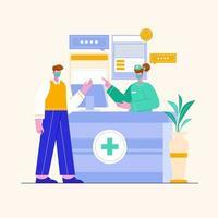 ilustração de homem falando com mulher recepcionista no hospital. conceito de design de escritório de clínica médica. médicos e enfermeiras personagens. vetor