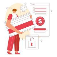 homens segurando um cartão de crédito para pagamento seguro. conceito de ilustração online de compras. design moderno de personagens. vetor