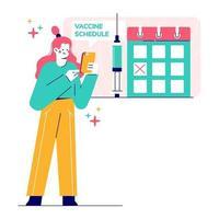 ilustração vetorial do calendário de vacinação e imunização. vetor