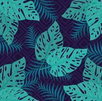 fundo de folhagem tropical com folhas verdes vetor