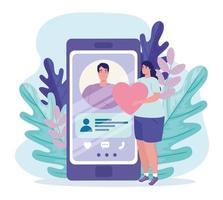 aplicativo de serviço de namoro online com perfil de homem no smartphone e mulher com coração vetor
