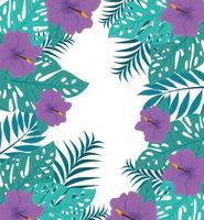 fundo de folhagem tropical com folhas verdes e flores roxas vetor
