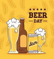 celebração do dia internacional da cerveja com abeer bootle, caneca, copo e lata vetor