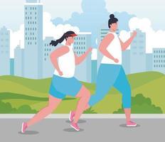 mulheres maratonistas correndo ao ar livre vetor