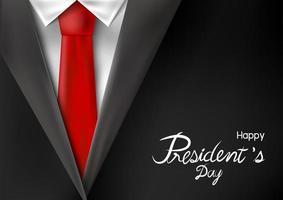desenho do dia do presidente de terno com ilustração vetorial de gravata vermelha vetor
