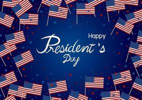 desenho do dia do presidente da bandeira e estrela da América na ilustração vetorial de fundo azul vetor