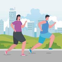 maratonistas correndo ao ar livre vetor