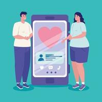 aplicativo de serviço de namoro online com casal com smartphone vetor