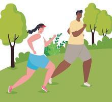 maratonistas inter-raciais correndo ao ar livre vetor