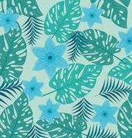 fundo tropical com flores azuis e folhas verdes vetor