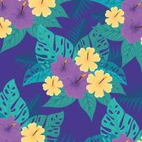 fundo de folhagem tropical com folhas verdes e flores vetor