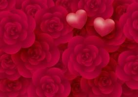 flores rosas e fundo de corações para ilustração vetorial de dia dos namorados vetor