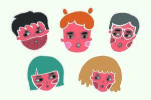 conjunto de vários ícones abstratos de caras engraçadas, objetos de doodle de desenhos animados. estilo de mosaico de corte de papel. vetor