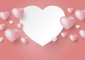 Corações 3D em fundo de cor coral para ilustração vetorial de cartão de casamento e dia dos namorados vetor