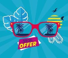 banner de venda de verão com óculos de sol vetor