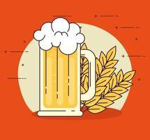 celebração do dia internacional da cerveja com decoração de caneca de cerveja e espigas de trigo vetor