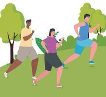 maratonista inter-racial masculino correndo ao ar livre vetor