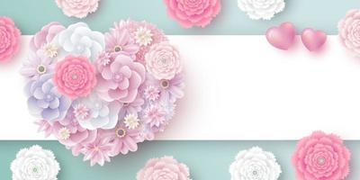 flores em forma de coração com espaço de cópia para ilustração vetorial dia das mães das mulheres dos namorados vetor