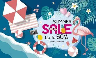ilustração vetorial de banner de venda de verão