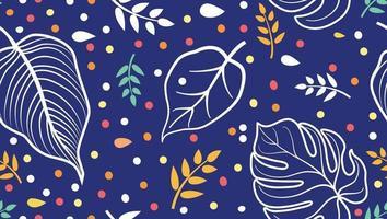 costura padrão floral com folhas de palmeira desenhada. flor sem costura verão fundo festivo. vetor
