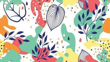 borrões orgânicos abstratos e folhas padrão sem emenda em estilo moderno. fundo elegante com pontos e formas florais fluidas. vetor