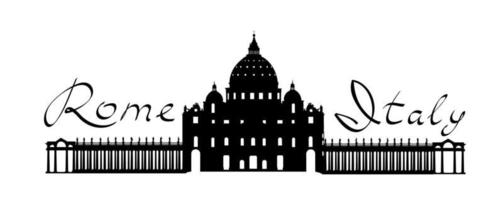 marco turístico de roma, catedral de são pedro vetor