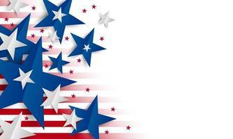 estrela de papel em fundo branco com cópia espaço dia da independência e ilustração vetorial de banner de férias vetor