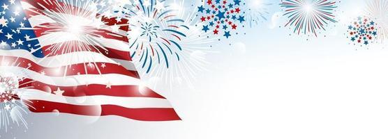 4 de julho projeto do fundo do banner do dia da independência dos EUA da bandeira americana com ilustração vetorial de fogos de artifício vetor
