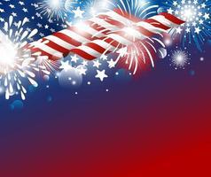 Dia da independência dos EUA, 4 de julho, desenho de plano de fundo da bandeira americana com ilustração vetorial de fogos de artifício vetor