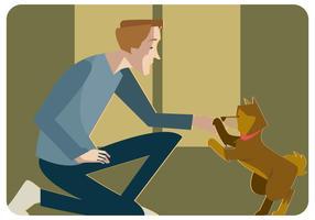 Homem com seu filhote de cachorro vector