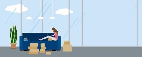 projeto de compra online de mulher usando laptop no sofá em ilustração vetorial de condomínio vetor