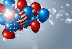 EUA 4 de julho desenho de banner do dia da independência de balão com ilustração em vetor bokeh claro