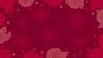 desenho de fundo de dia dos namorados de flor rosa e coração com ilustração vetorial de espaço de cópia vetor