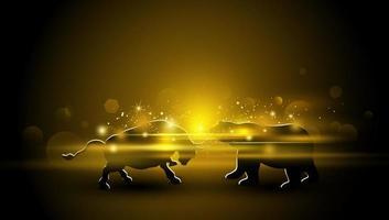 projeto de mercado de ações de touro e urso com ilustração vetorial de efeito de luz dourada vetor