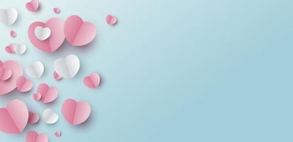 desenho de banner do dia dos namorados de corações de papel em fundo azul com ilustração vetorial de espaço de cópia