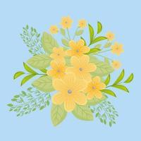 flores amarelas com ramos e folhas para decoração da natureza vetor