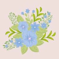 flores azuis com ramos e folhas para decoração da natureza vetor