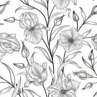 padrão sem emenda floral. fundo de arte de linha desenhada à mão de jardim de flores. papel de parede floral ornamenal vetor